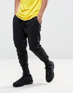 Черные джоггеры с заниженным кроем и вставками New Look - Черный