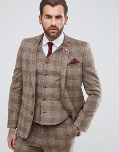 Приталенный пиджак верблюжьего цвета в клетку с добавлением шерсти ASOS Wedding - Бежевый
