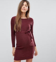 Вязаное платье с завязкой на талии Mamalicious - Розовый Mama.Licious