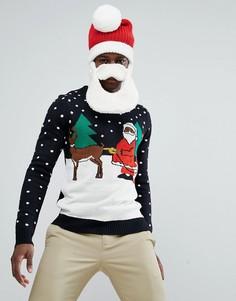 Новогодний джемпер D‑Struct Naughty Santa - Черный