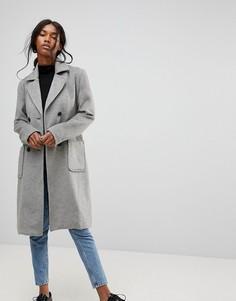 Классическое пальто с поясом b.Young - Серый