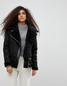 Куртка-авиатор с искусственной овчиной b.Young - Черный