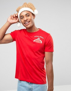 Футболка с карманом и принтом новогодней индейки Brave Soul - Красный