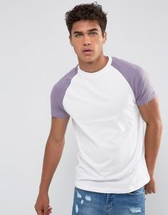 Фиолетовая футболка с рукавами реглан Brave Soul - Белый