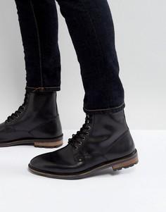 Черные кожаные ботинки в стиле милитари на шнуровке Ben Sherman - Черный