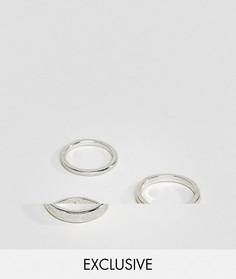 Набор из 3-х серебристых колец DesignB эксклюзивно для ASOS - Серебряный