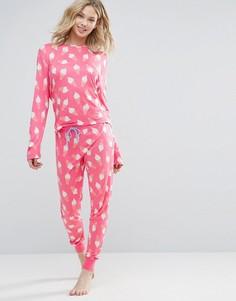 Пижама с длинными рукавами и мороженым Chelsea Peers - Красный