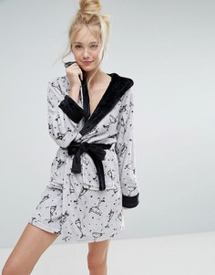 Флисовый халат с принтом коктейлей Loungeable Luxury - Серебряный