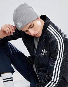 Серая шапка-бини с логотипом-трилистником adidas Originals BR2609 - Серый