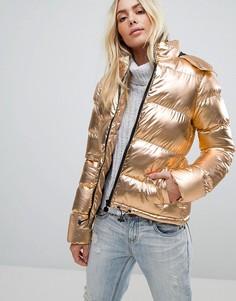Стеганое пальто с эффектом металлик Brave Soul - Золотой