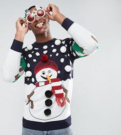 Джемпер с новогодним снеговиком Brave Soul TALL - Темно-синий