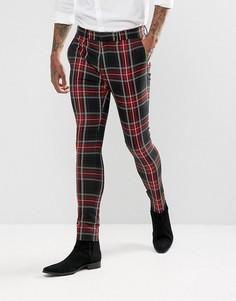 Супероблегающие брюки с принтом тартан Devils Advocate - Черный