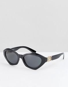 Солнцезащитные очки кошачий глаз в стиле 90-х Versace - Черный