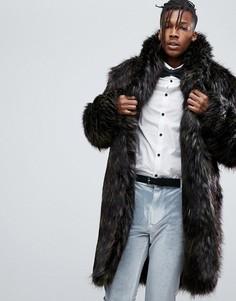 Коричневое пальто из искусственного меха ASOS - Коричневый