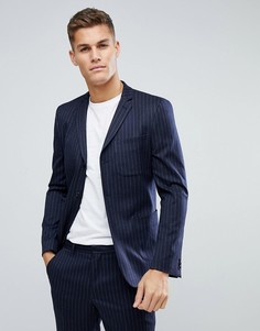 Темно-синий пиджак скинни из смесовой шерсти в тонкую полоску ASOS - Темно-синий