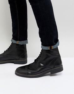 Черные блестящие ботинки в стиле милитари на шнуровке Frank Wright - Черный