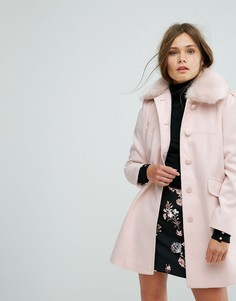 Пальто-бушлат с воротником из искусственного меха Miss Selfridge - Мульти