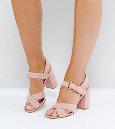 Босоножки на блочном каблуке для широкой стопы Truffle Collection - Розовый