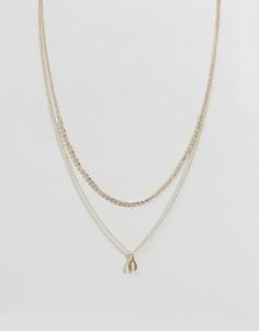 Ожерелье с подвеской в виде счастливой куриной вильчатой косточки Johnny Loves Rosie - Золотой