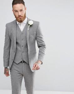 Серый приталенный пиджак в ломаную клетку ASOS Wedding - Серый