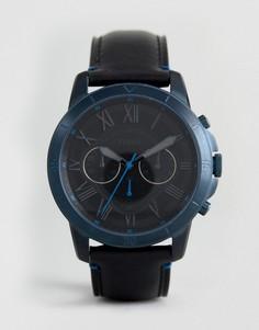 Часы-хронограф с черным кожаным ремешком Fossil FS5342 Grant - Черный