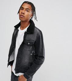 Черная выбеленная джинсовая куртка с отделкой искусственным мехом Brooklyn Supply Co - Черный