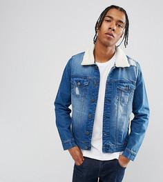 Выбеленная джинсовая куртка с искусственным мехом Brooklyn Supply Co - Синий