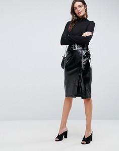 Виниловая юбка-карандаш с поясом ASOS - Черный