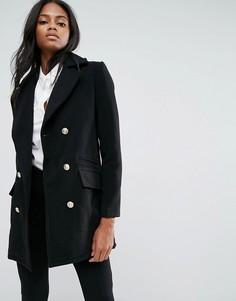 Черное короткое пальто в стиле милитари из искусственной шерсти Missguided - Черный