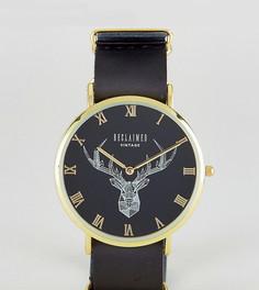 Часы с принтом оленя и черным кожаным ремешком Reclaimed Vintage Inspired эксклюзивно для ASOS - Черный