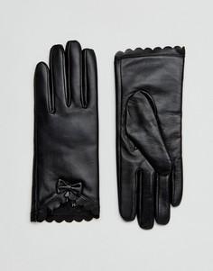 Перчатки из натуральной кожи с фигурной отделкой и бантом Barneys - Черный Barneys Originals