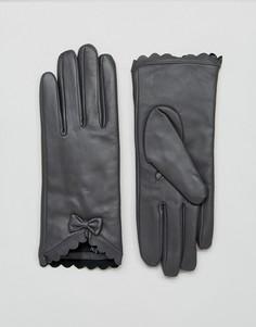 Перчатки из натуральной кожи с фигурной отделкой и бантом Barneys - Серый Barneys Originals