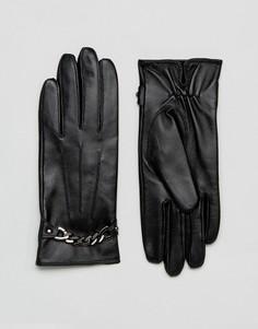 Перчатки из натуральной кожи с цепочкой Barneys - Черный Barneys Originals