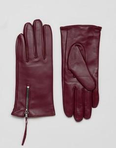 Перчатки из натуральной кожи с молнией Barneys - Красный Barneys Originals