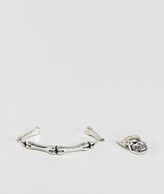 Набор из кольца с черепом и браслета ASOS - Серебряный