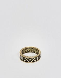 Золотистое шлифованное кольцо с римскими цифрами ASOS - Коричневый