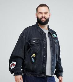 Черная джинсовая oversize-куртка с нашивками ASOS PLUS - Черный