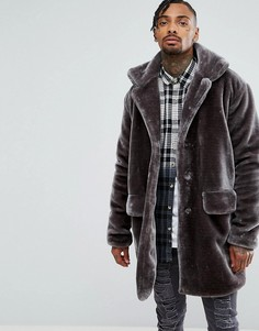 Пальто-оверсайз из искусственного плюшевого меха The New County - Серый