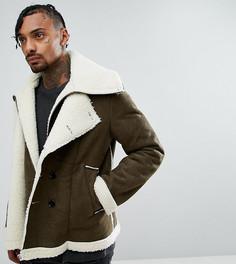 Двухслойная байкерская куртка из искусственной овечьей шерсти The New County - Зеленый