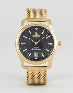 Золотистые часы с сетчатым браслетом Vivienne Westwood VV185BKGD - Золотой