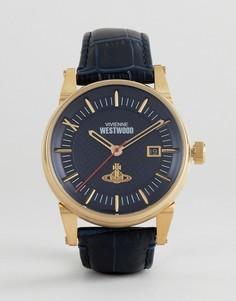 Черные часы с кожаным ремешком Vivienne Westwood VV065BLBL - Темно-синий
