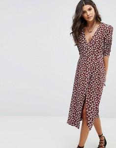 Платье миди с запахом и цветочным принтом BA&SH - Красный Ba&Sh