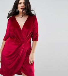 Велюровое платье с запахом Club L Plus - Красный