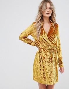 Бархатное платье с запахом Club L - Золотой
