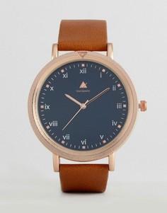 Золотистые часы со светло-коричневым кожаным ремешком ASOS - Рыжий