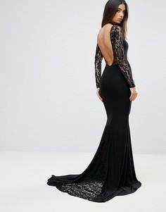 Платье макси с кружевной вставкой Club L - Черный
