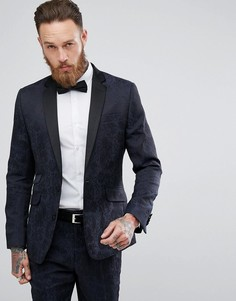 Приталенный пиджак с принтом в стиле барокко Devils Advocate - Темно-синий