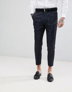 Укороченные брюки скинни с принтом в стиле барокко Devils Advocate - Темно-синий