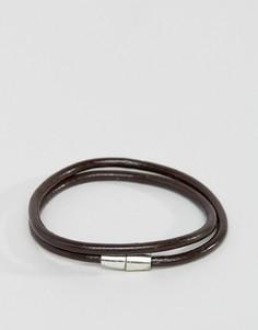 Коричневый кожаный браслет Jack & Jones - Коричневый