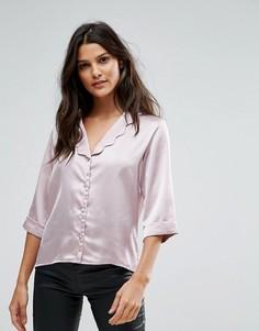 Атласная блузка с фигурным воротником, рукавами 3/4 и цветочным принтом Goldie - Розовый